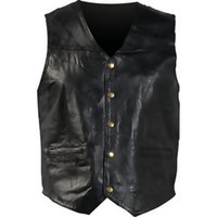 Giovanni Navarre Italian Stone Design Genuine Leather Vest With Snap Buttons Watch Pockets GFV4X