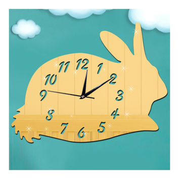 Mirror Wall Clock DIY Creative Kid Room Cartoon Rabbit  golden