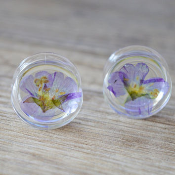 flower plug 20mm wedding plugs 13/16 floral plugs 20mm plugs flower plugs floral gauges real flower plug ear Tunnel organic Plugs girly plug