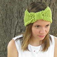 Chartreuse knit headband, knot ear warmer