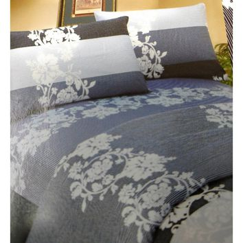 Royal Navy Blue Floral Striped Elegant Jacquard Linen Fitted & Flat Sheets Set with Pillow Cases Sham Covers (FSFS8153)
