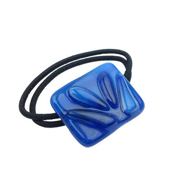 Ponytail Holder - Blue Stained Glass - Abstract Large Hair Tie