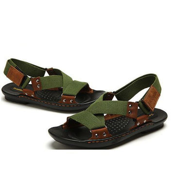 Canvas And Leather Strap Sandals