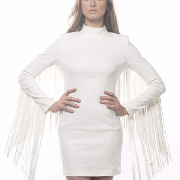 Leave The Night On Fringed PU Dress