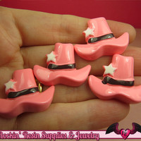 PINK COWGIRL HAT Kawaii Cabochons / Flatback Decoden Resin Cabochon (5 pieces)