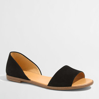 Factory suede peep-toe d'Orsay flats