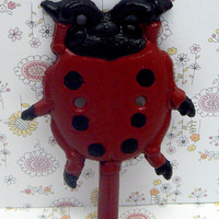 Ladybug Cast Iron Wall Art Hook Bright Red Black Nursery Bedroom Bathroom Lady Bug Coat Jewelry Pet Leash Scarf Hat Cap Keys Towel Key Hook