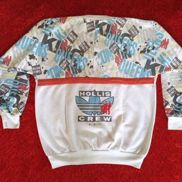 Mega Rare Vintage 80's era Adidas Presents RUN DMC Hollis Crew Crewneck Sweatshirt
