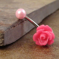 Pink Rose Flower Belly Button Ring Blush Pearl