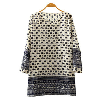 V-neck Print Plus Size Chiffon Tops Blouse [4919324868]