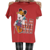 90s Vintage Mickey Mouse T Shirt - Fishing Fisherman - Disney - 90s Clothing - 90s Tee - Mickey Mouse Shirt - Grunge Goth Plaid Tartan Y2K