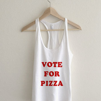 Vote For Pizza Pedro Typography  Athletic Racerback Tank Top