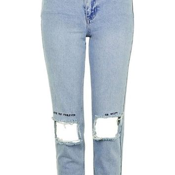 Topshop Embroidered Ripped Mom Jeans | Nordstrom