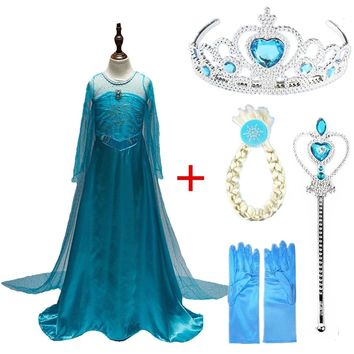 Disney Frozen dresses Girl Elsa Anna Costume with Hair Accessory Set Blue Lace Long Sleeves Kid Sequinned Children Cosplay dress