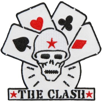 Clash Men's Skull & Cards Embroidered Patch Black