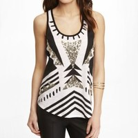 LACE BACK GRAPHIC TANK - SEQUIN AZTEC