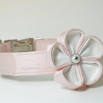 Wedding Dog Collar and Flower - Pale Pink Silk With Metal Hardware - pink, designer dog collar, matching leash
