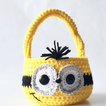 Minion Easter Basket - Minion Photo prop Basket - Minions Easter Basket - Photography Prop Basket - Halloween - Crochet Minion Easter Basket