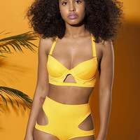 Orange high waist swimsuit