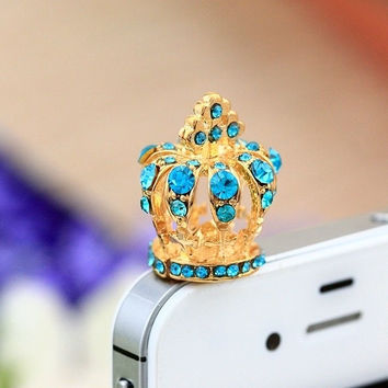 Cute Rhinestone Hollow Out Crown Dust Plug for iPhone 4 4s 5 5s = 1652343108