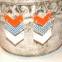 Auburn Tiger War Eagle Chevron Earrings