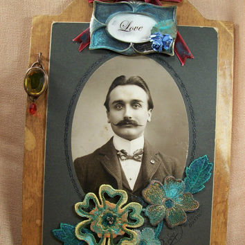 Antique Altered Victorian Cabinet Photo For Wall Or Easel Original Collage Art OOAK Father's Day Gift  -