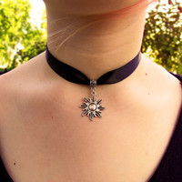 Sun choker, ribbon choker, sol necklace, thick black ribbon choker, grunge, goth, celestial, choker necklace