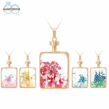 Dry Flower Square Glass Wishing Bottle Pendant Necklace