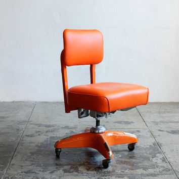 Vintage Armless Task Chair, Refinished in Monochrome Orange