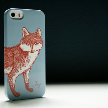 Foxy Fox Phone Case - Sky Blue iPhone5 Case, Fox iPhone4 Case, Samsung Galaxy S3 Cover, S4, iPhone 5S, iPhone 5C Case iPhone 6 Case