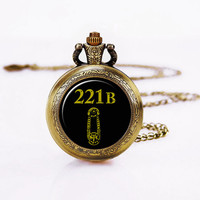 Sherlock 221B Necklace, holmes pocket Watch ,221B,Lovely Pendant ,included gift box
