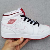 [ Free Shipping ] Nike Air Jordan Retro 1 Mid BG OG White /Red  Basketball Sneaker
