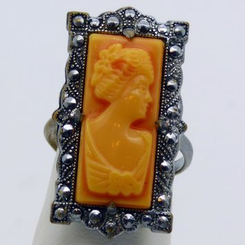 Gorgeous Marcasite & Coral Cameo Vintage Signed Ring