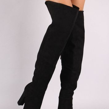 Bamboo Suede Pointy Toe Chunky Heeled Over-The-Knee Boots