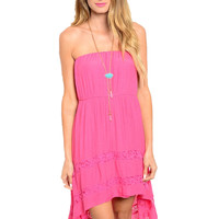 Strapless Hi-Low Sun Dress W/ Lace Trim