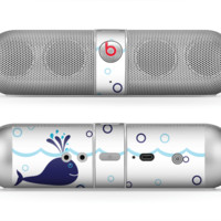 The Navy Blue Smiley Whales Skin for the Beats by Dre Pill Bluetooth Speaker