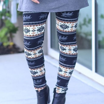 Snowflake Print Keep Warm Elastic Pants Tight Pants High-quality Slim Leggings Women Gift-58