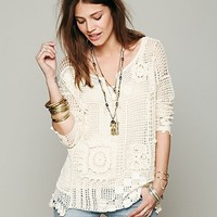 Free People Patched Crochet Pullover