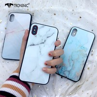 Tronsnic Marble Phone Case for iPhone X Colored Glaze Glass Cases for iPhone 6 6s plus 7 8 plus White Hard Cover Silicone Border