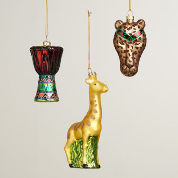 Glass Africa Boxed Ornaments, Set of 3 - World Market