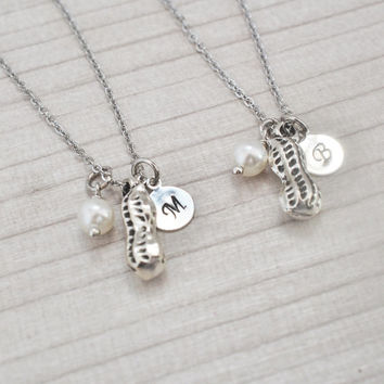 peanut necklace, best friend necklace set, initial charm, siblings gift, silver peanut, name necklace, food necklace, personalized gift,