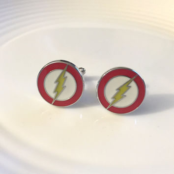 The Flash Cuff Links, Red Cuff Links, The Flash, Silver Charm Cuff Links, Gift for Him, Boyfriend Gift, Husband Gift, Comic Book