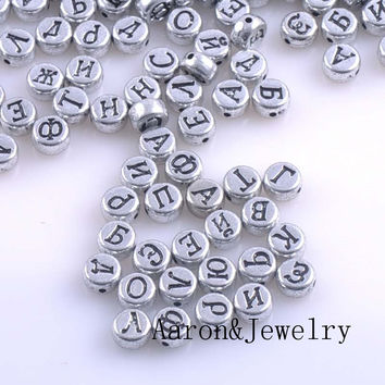 7x4mm 400PCs Mixed silver Acrylic Russian Alphabet/Letter Flat Round Pony Beads For Jewelry Making YKL0375