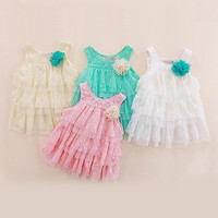 Girls Kids Dresses One Piece Big Flower Lace Layers Toddlers Babys Strap Dresses = 1958049732
