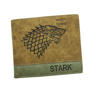 New Design Men Wallets With Coin Pocket  Embossed Leather Game of Thrones  / One Piece Pattern Carteira Masculina