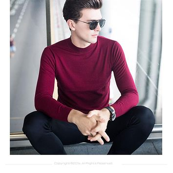 Merino Wool Sweater Men Winter Warm Knitted Cashmere Sweaters Brand Casual Turtleneck Pullover Men Plus Size Pull Homme