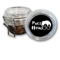 Airtight Stash Jar with Silicone Seal - Pott Head - Food-Grade Plastic with Locking Wire Top - Smell Proof Hermes Container