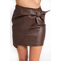 Cecila Leather Skirt (Brown)