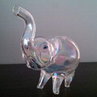 Silver Fumed Glass Elephant - Smoking Bowl - Trippy Color Changing
