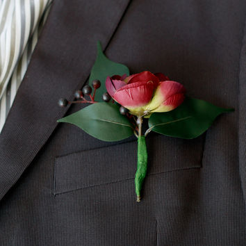 Silk Plum Burgundy and Berry Boutonniere